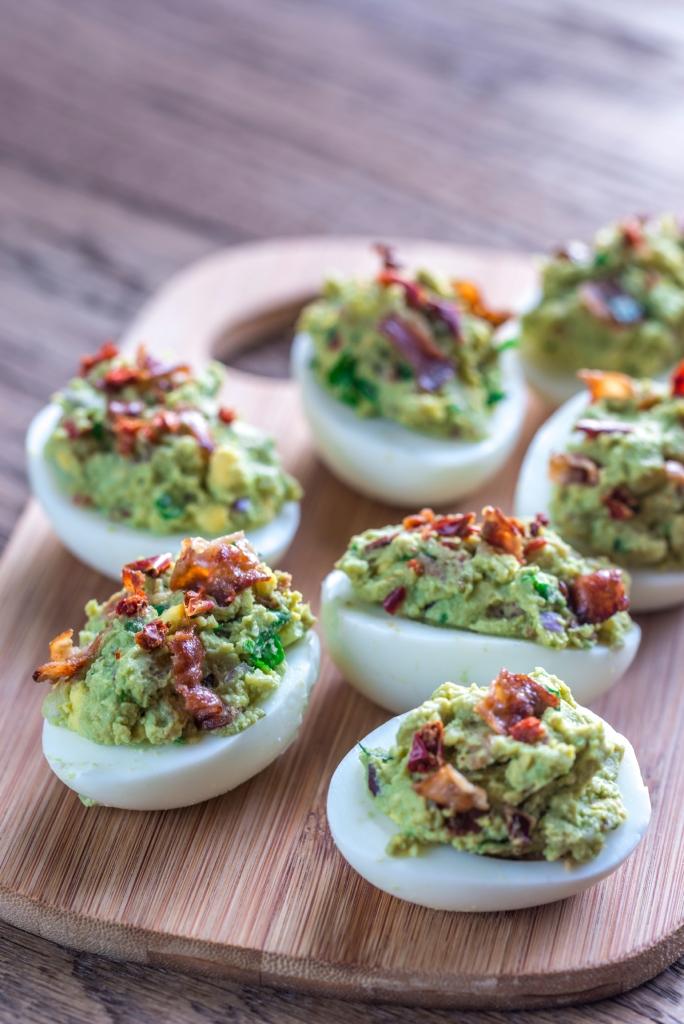 Bacon guacamole deviled eggs
