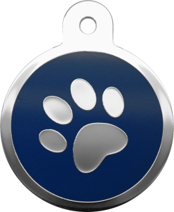 Therese Tag & Pet Accessories - 藍色水磨膠腳印大圓