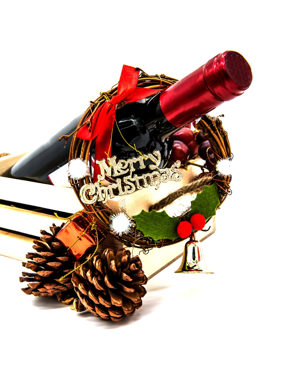 Red wine for Christmas celebration, isolated white background