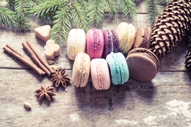 Christmas background with macaroons